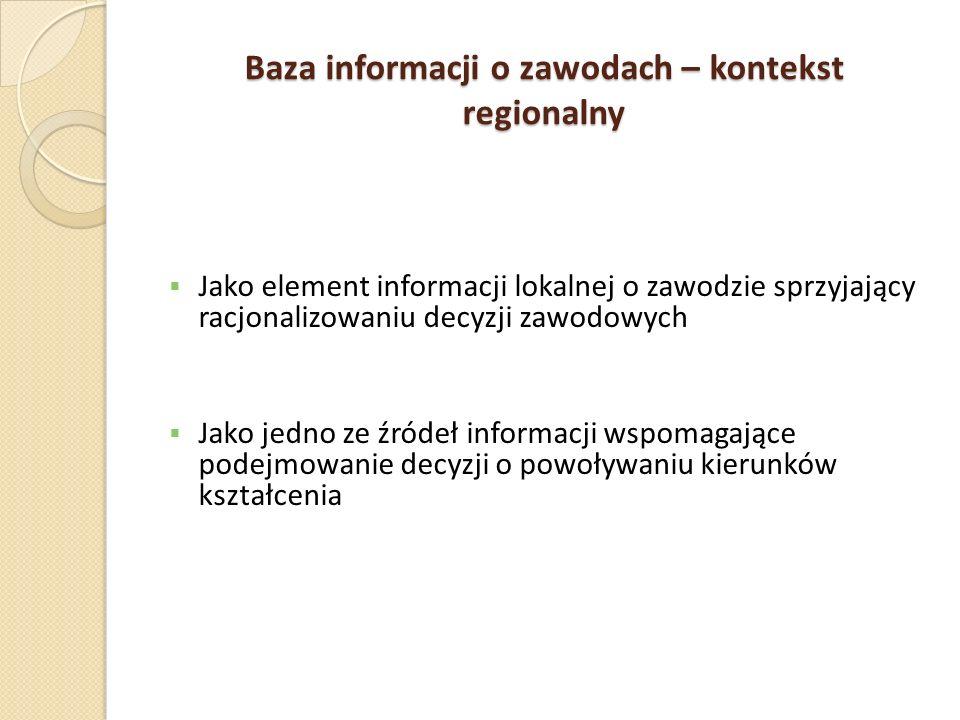 Baza informacji o zawodach – kontekst regionalny