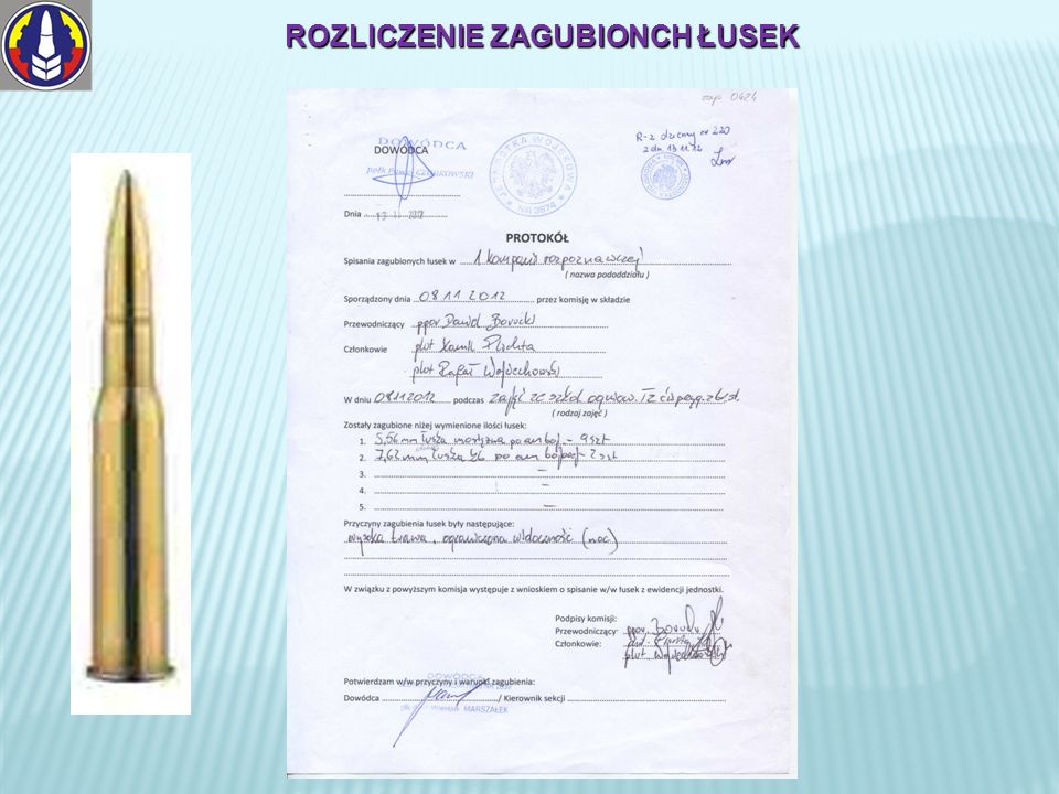 ROZLICZENIE ZAGUBIONCH ŁUSEK