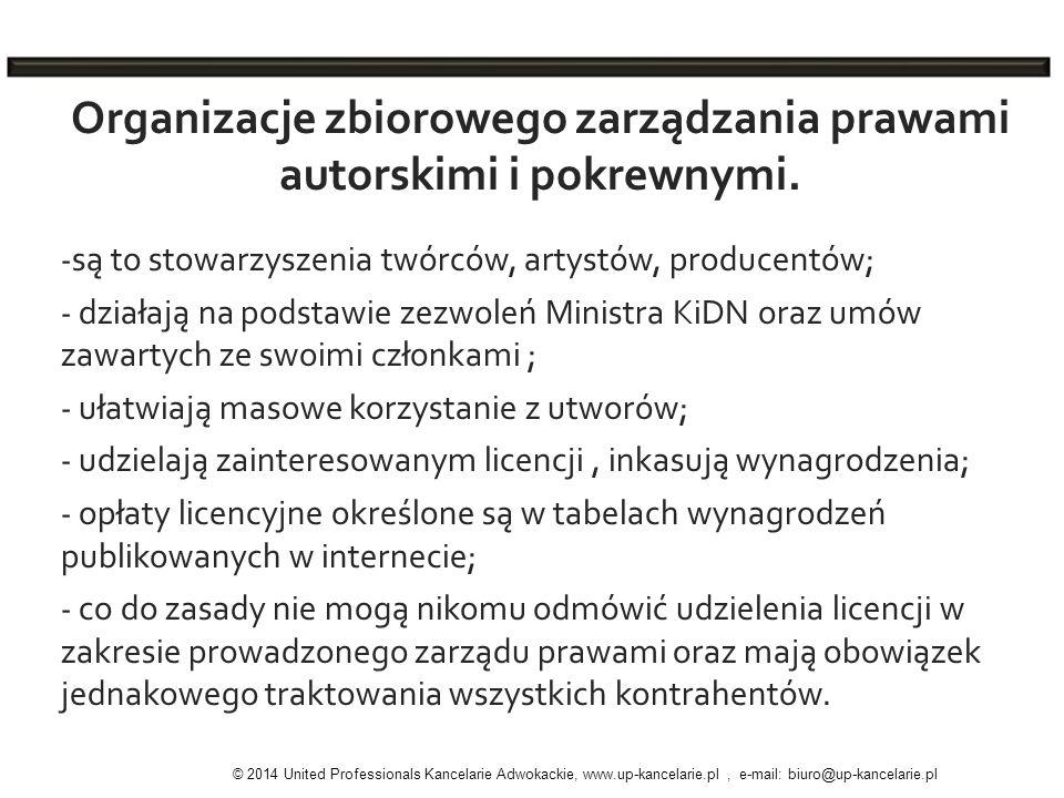 Organizacje zbiorowego zarządzania prawami autorskimi i pokrewnymi.