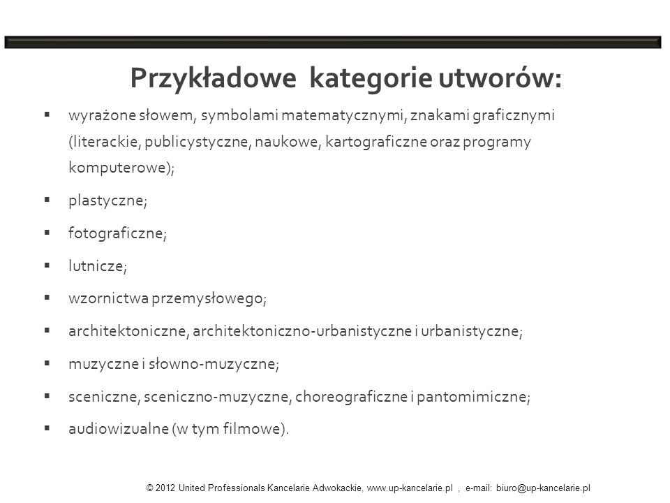 Przykładowe kategorie utworów: