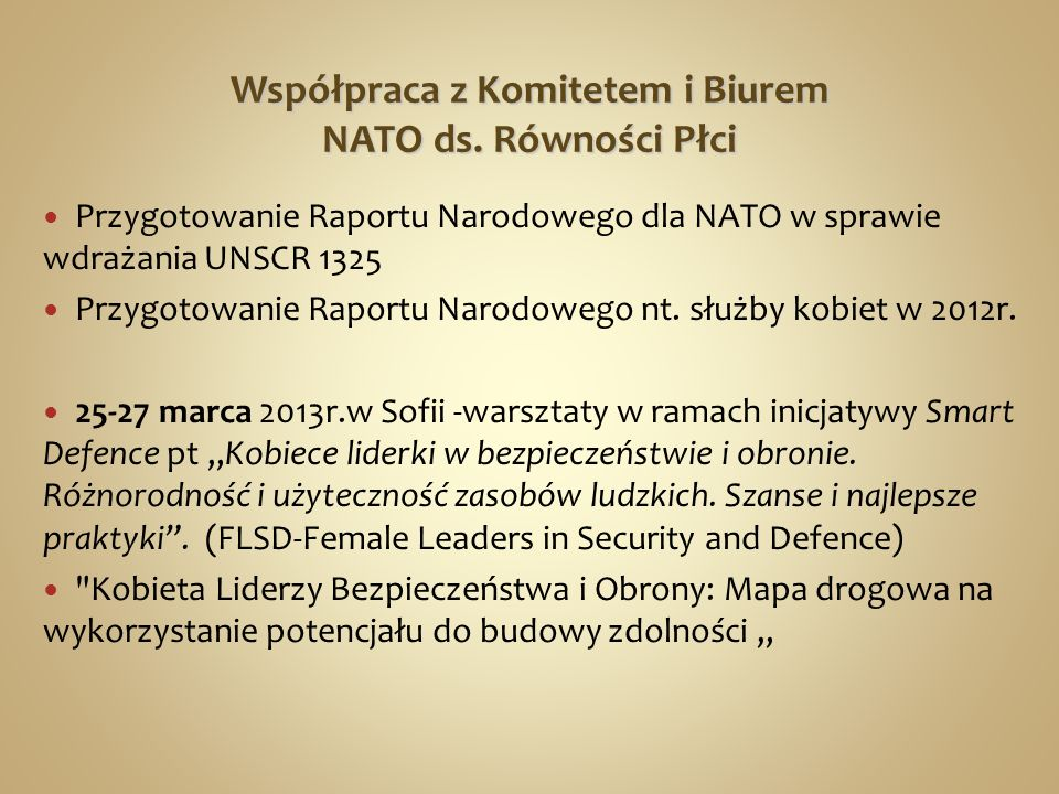 Współpraca z Komitetem i Biurem NATO ds. Równości Płci