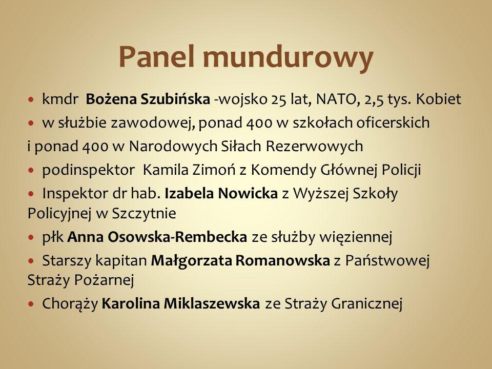 Panel mundurowy kmdr Bożena Szubińska -wojsko 25 lat, NATO, 2,5 tys. Kobiet. w służbie zawodowej, ponad 400 w szkołach oficerskich.