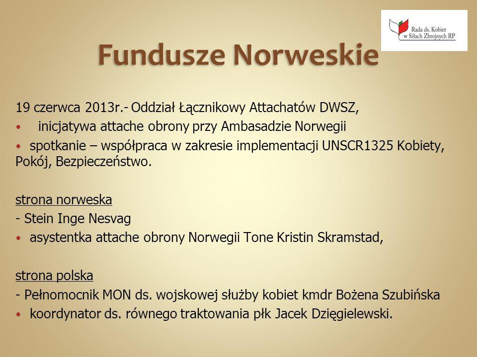Fundusze Norweskie 19 czerwca 2013r.- Oddział Łącznikowy Attachatów DWSZ, inicjatywa attache obrony przy Ambasadzie Norwegii.