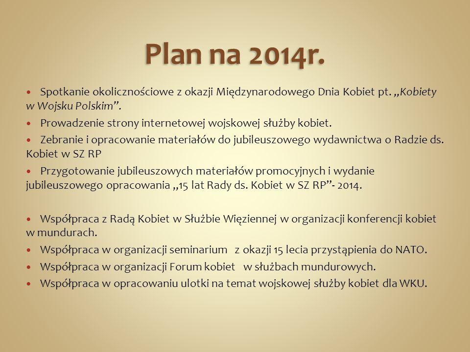 """Plan na 2014r. Spotkanie okolicznościowe z okazji Międzynarodowego Dnia Kobiet pt. """"Kobiety w Wojsku Polskim ."""