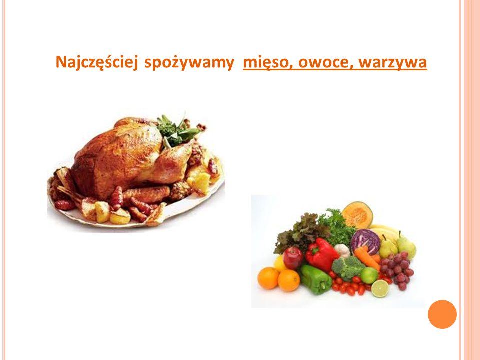 Najczęściej spożywamy mięso, owoce, warzywa
