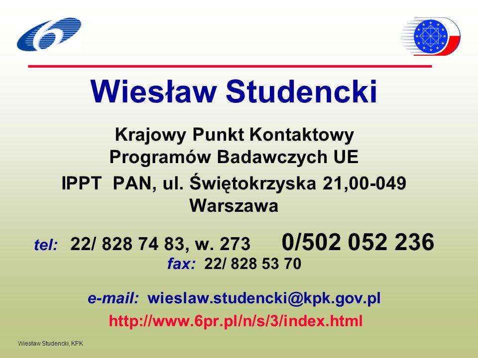 Wiesław Studencki Krajowy Punkt Kontaktowy Programów Badawczych UE
