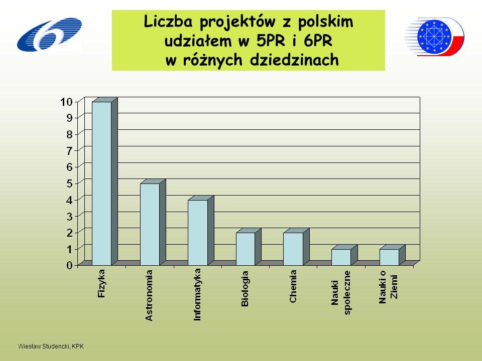 Liczba projektów z polskim udziałem w 5PR i 6PR w różnych dziedzinach