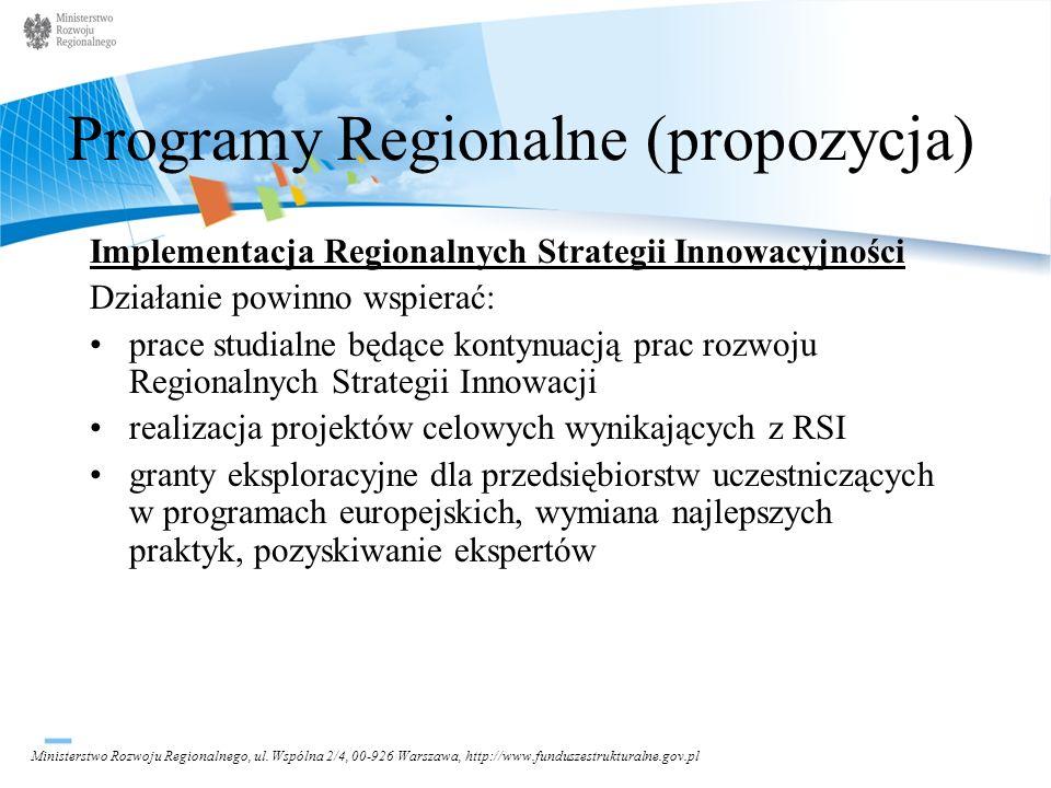 Programy Regionalne (propozycja)