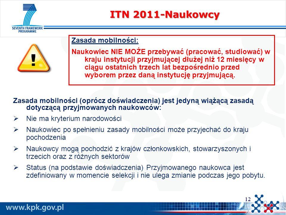 ITN 2011-Naukowcy Zasada mobilności: