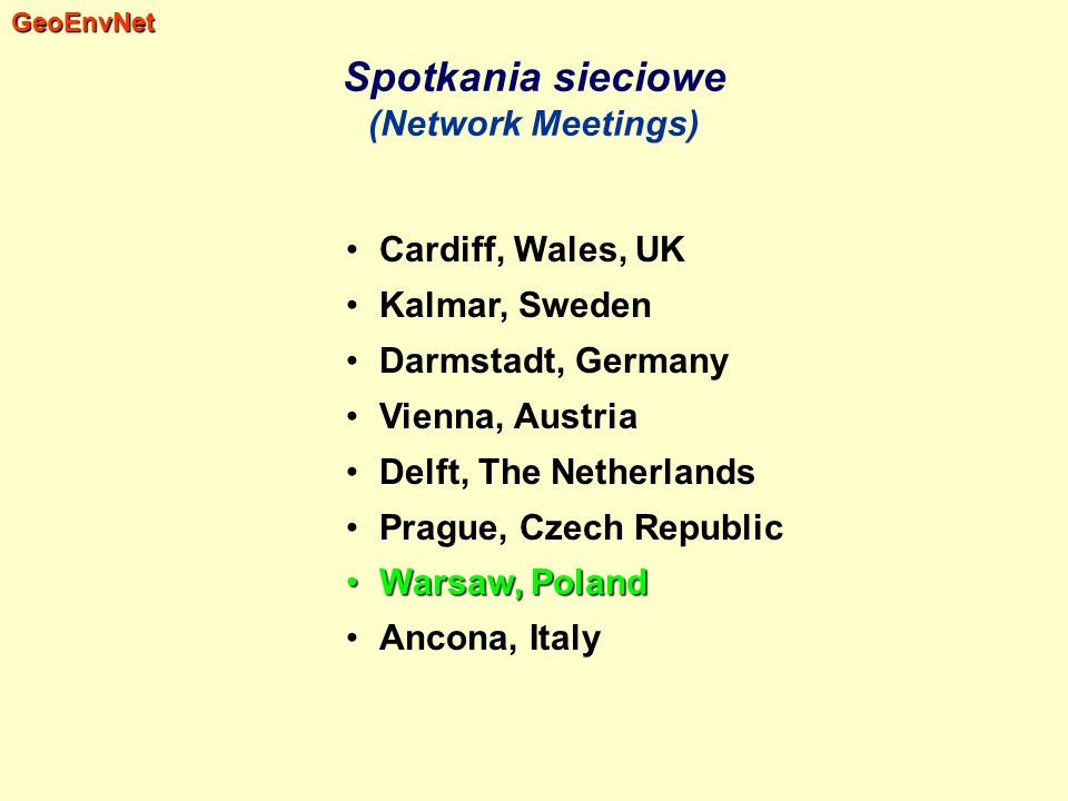 Spotkania sieciowe (Network Meetings)