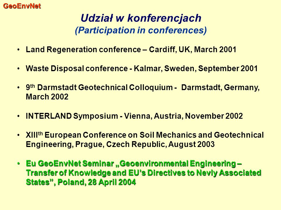Udział w konferencjach (Participation in conferences)