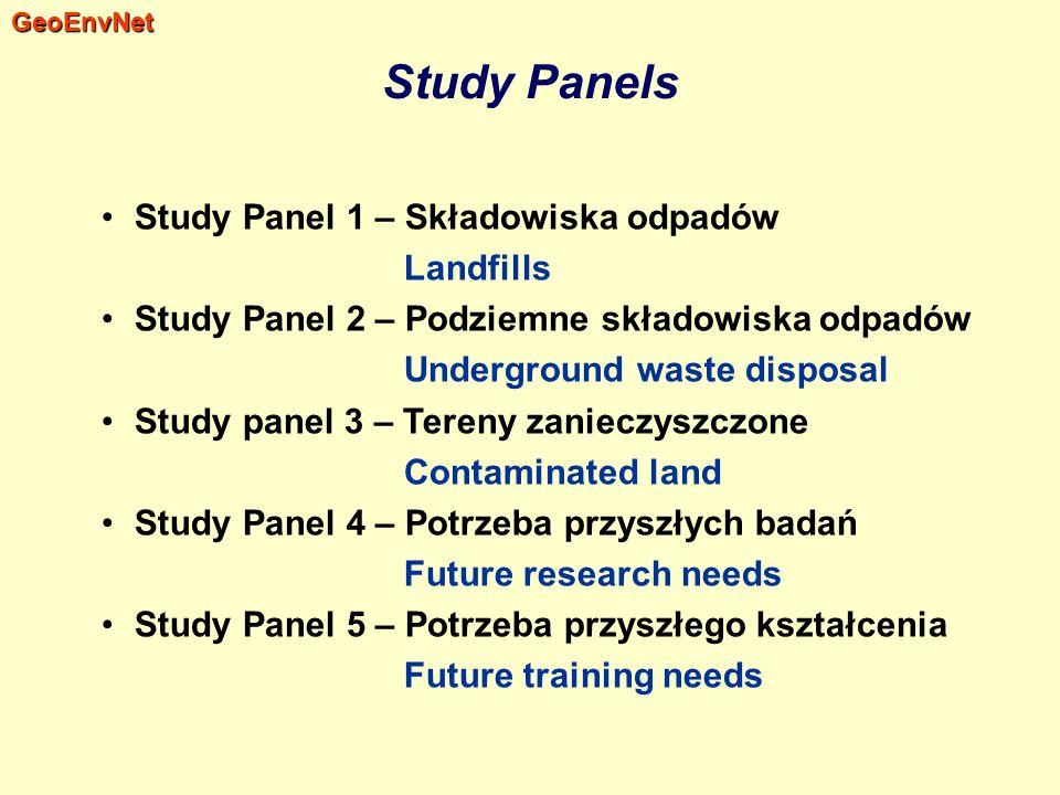 Study Panels Study Panel 1 – Składowiska odpadów Landfills