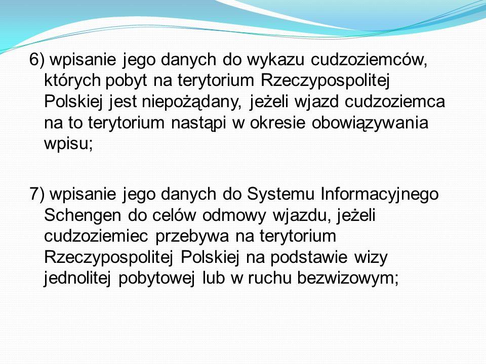 6) wpisanie jego danych do wykazu cudzoziemców, których pobyt na terytorium Rzeczypospolitej Polskiej jest niepożądany, jeżeli wjazd cudzoziemca na to terytorium nastąpi w okresie obowiązywania wpisu;