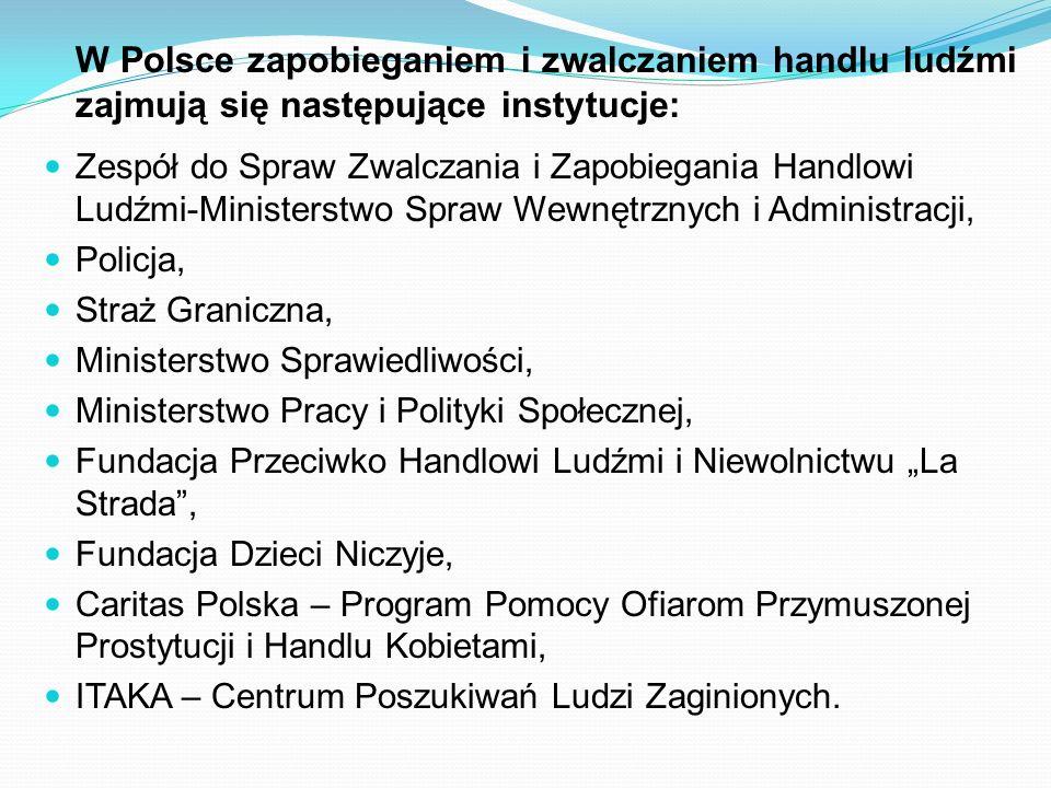 W Polsce zapobieganiem i zwalczaniem handlu ludźmi zajmują się następujące instytucje: