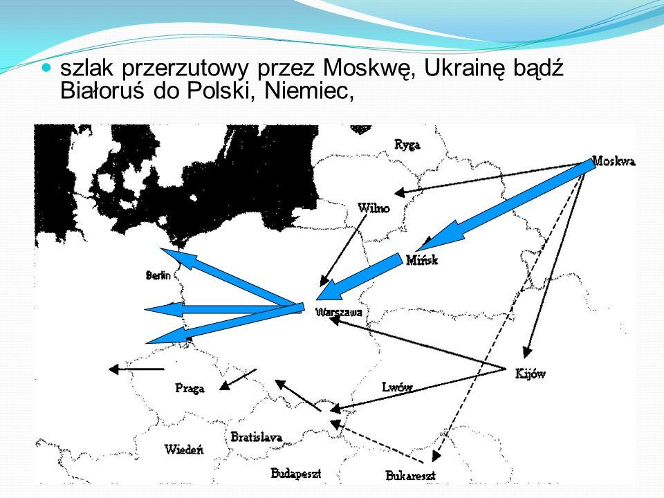 szlak przerzutowy przez Moskwę, Ukrainę bądź Białoruś do Polski, Niemiec,