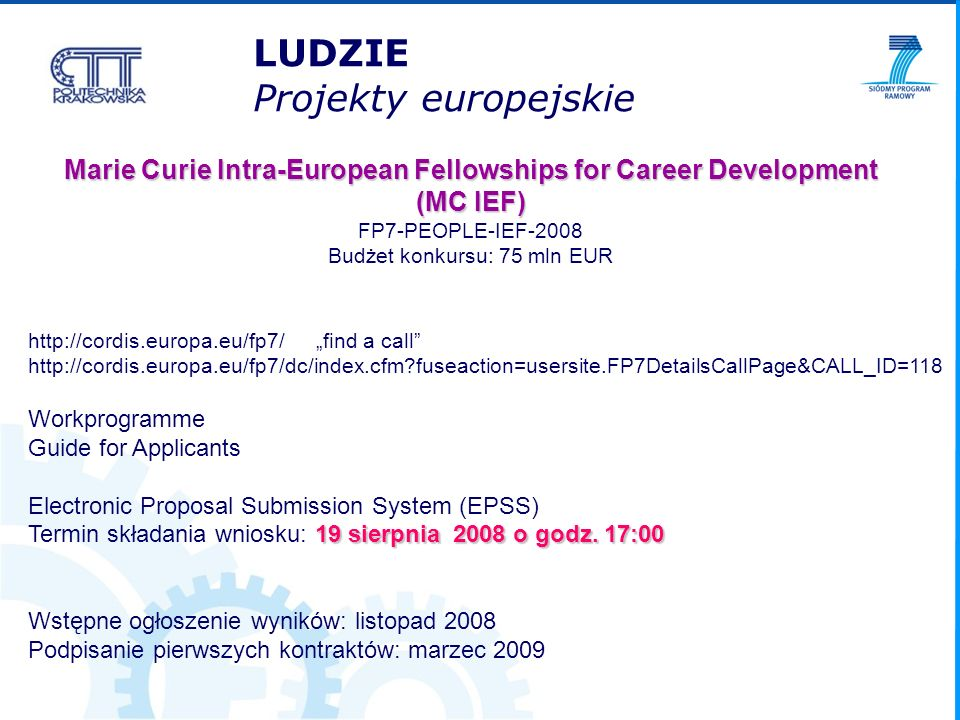 Marie Curie Intra-European Fellowships for Career Development