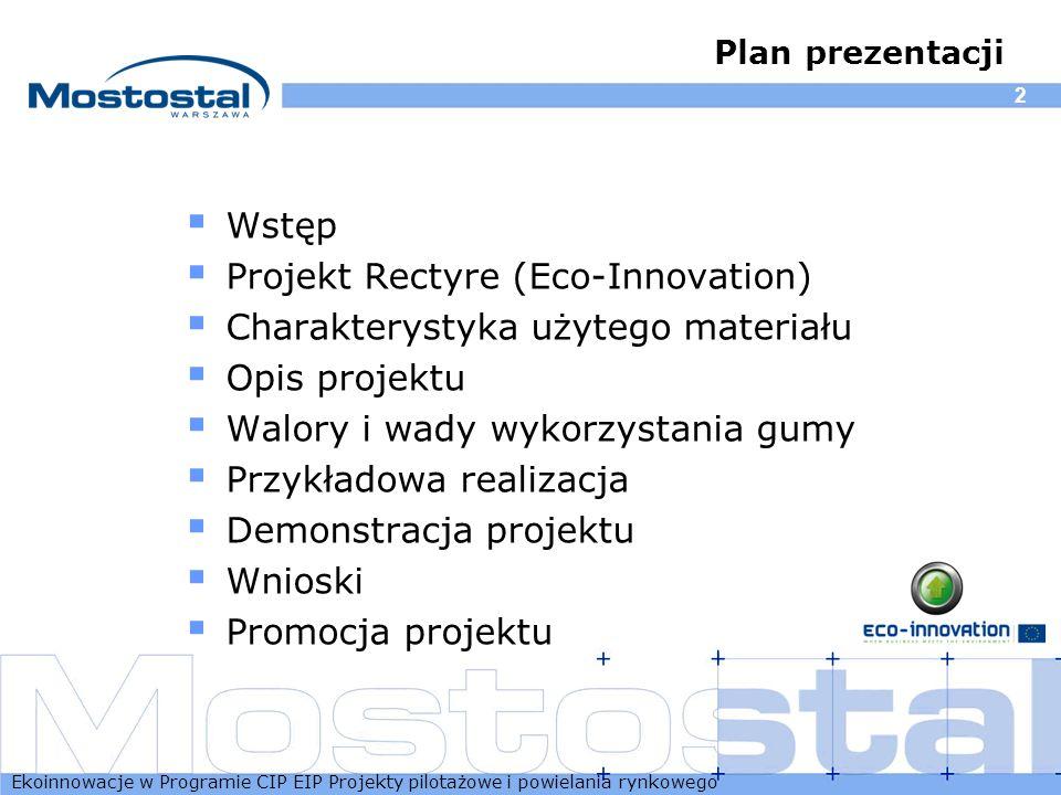 Projekt Rectyre (Eco-Innovation) Charakterystyka użytego materiału