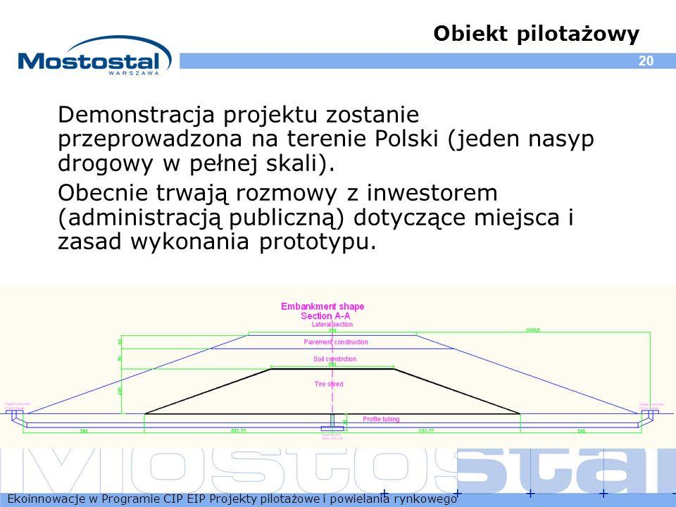 Obiekt pilotażowy Demonstracja projektu zostanie przeprowadzona na terenie Polski (jeden nasyp drogowy w pełnej skali).