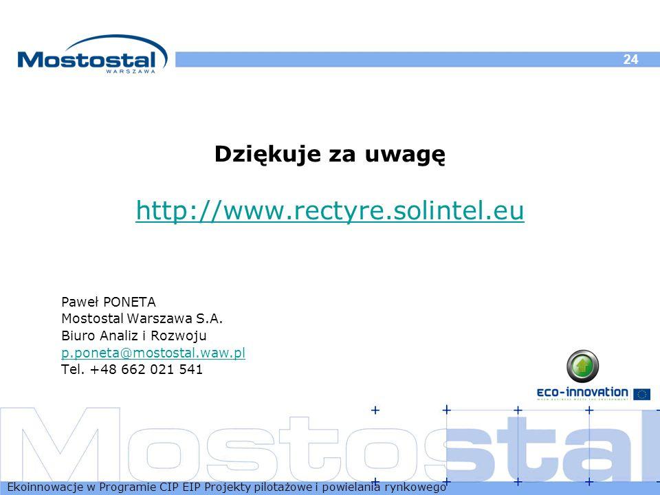 http://www.rectyre.solintel.eu Dziękuje za uwagę Paweł PONETA