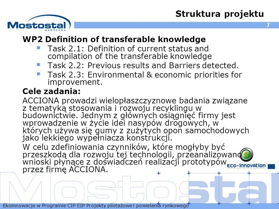 Struktura projektu WP2 Definition of transferable knowledge