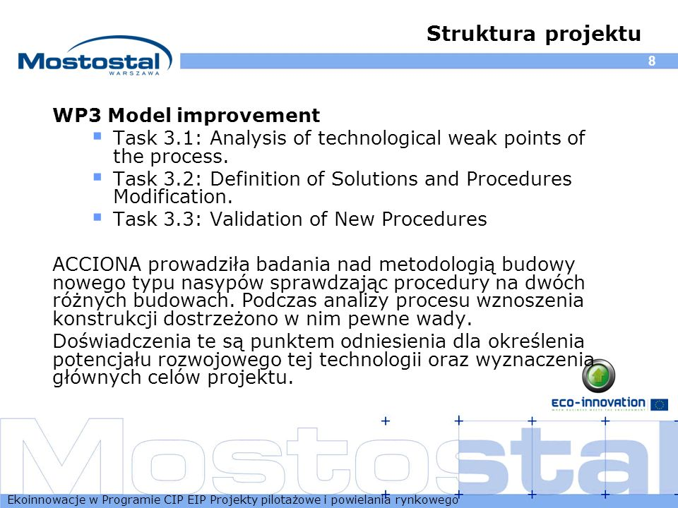 Struktura projektu WP3 Model improvement