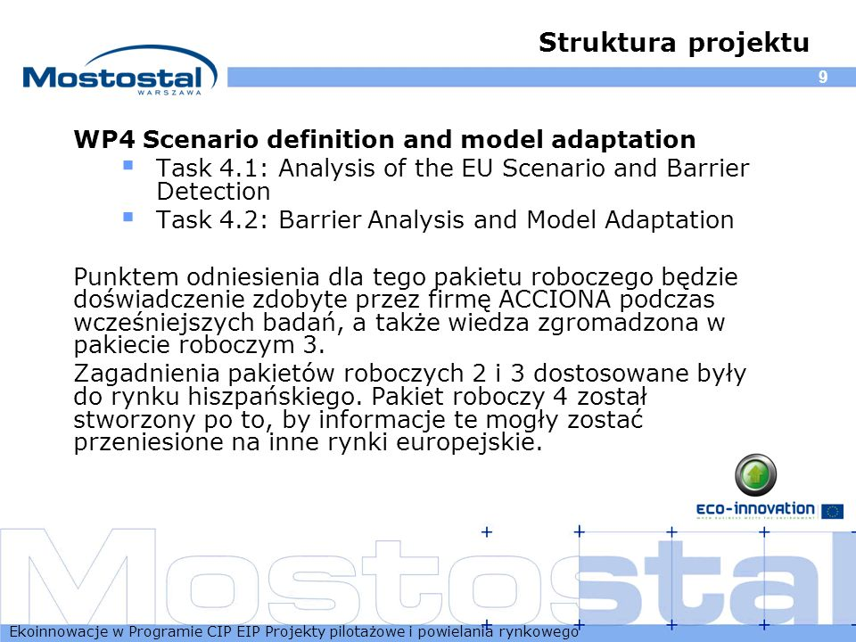 Struktura projektu WP4 Scenario definition and model adaptation