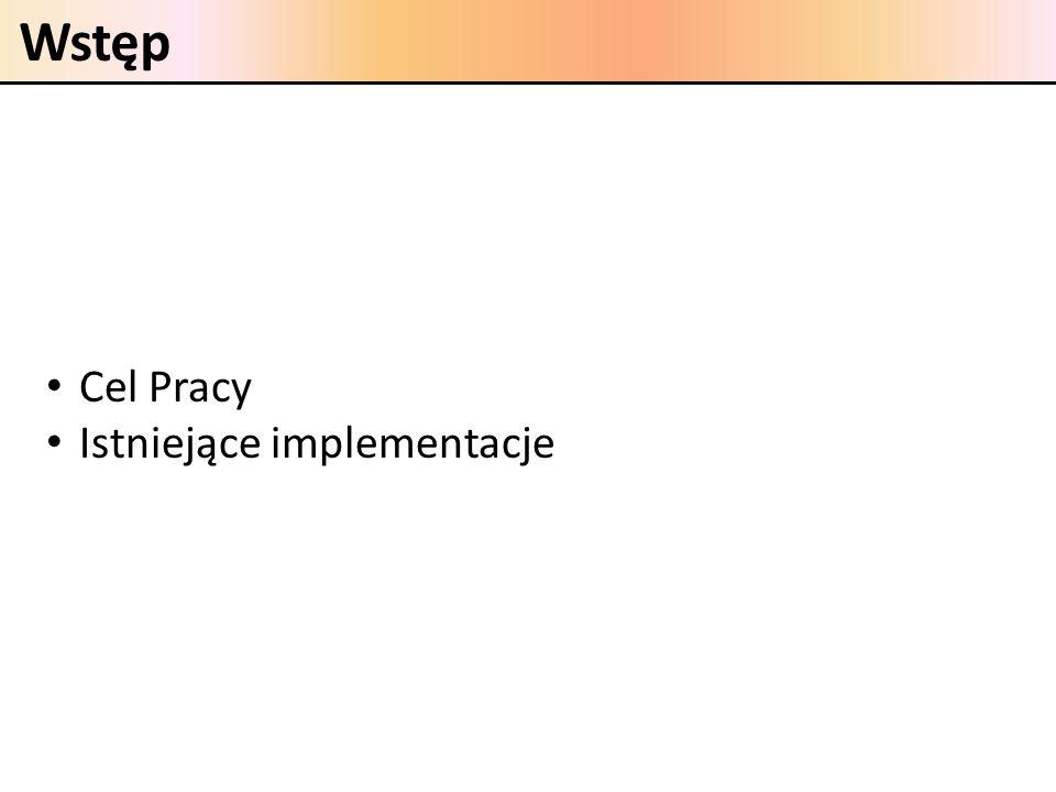 Wstęp Cel Pracy Istniejące implementacje