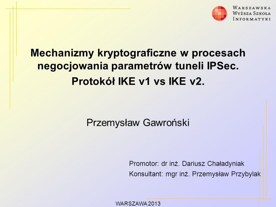 Mechanizmy kryptograficzne w procesach negocjowania parametrów tuneli IPSec.