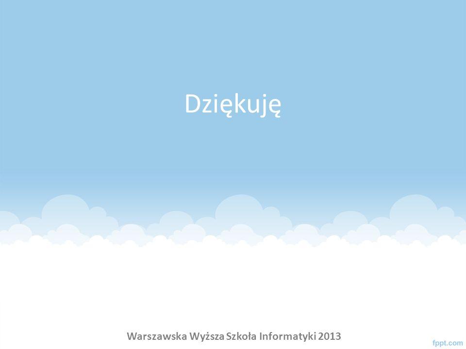 Dziękuję Warszawska Wyższa Szkoła Informatyki 2013