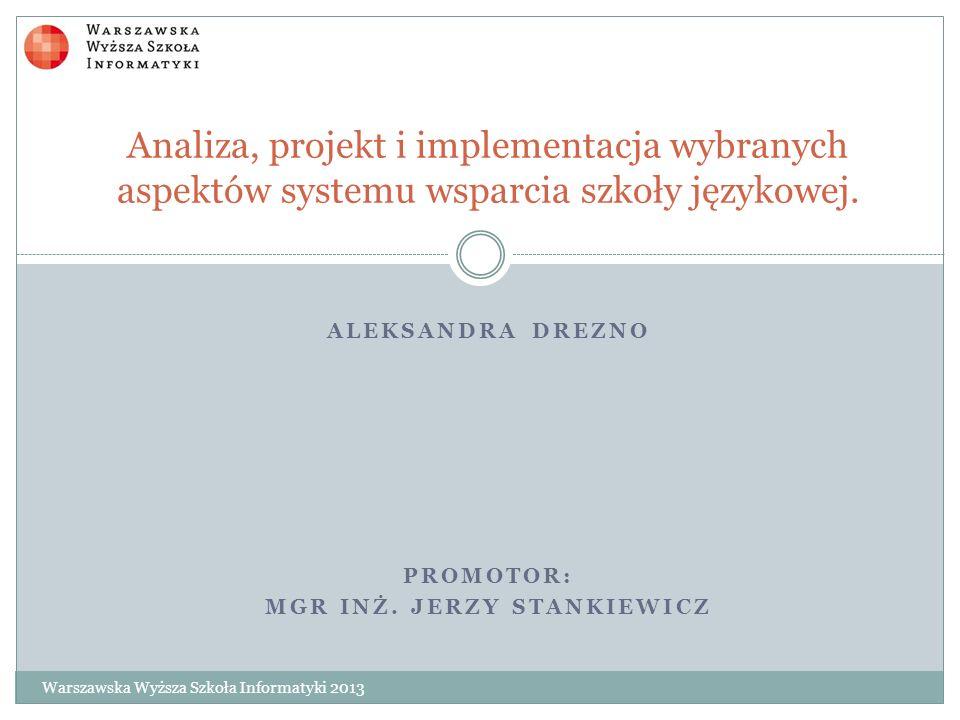 Aleksandra Drezno Promotor: mgr inż. Jerzy Stankiewicz