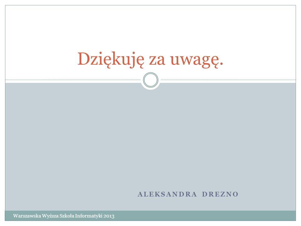 Dziękuję za uwagę. Aleksandra Drezno