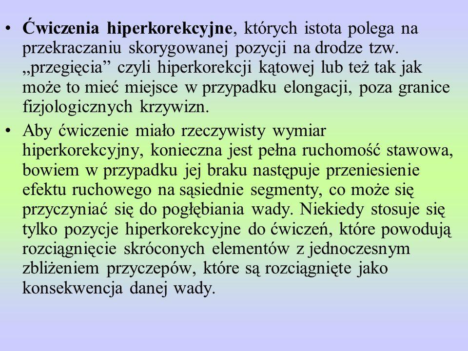 """Ćwiczenia hiperkorekcyjne, których istota polega na przekraczaniu skorygowanej pozycji na drodze tzw. """"przegięcia czyli hiperkorekcji kątowej lub też tak jak może to mieć miejsce w przypadku elongacji, poza granice fizjologicznych krzywizn."""