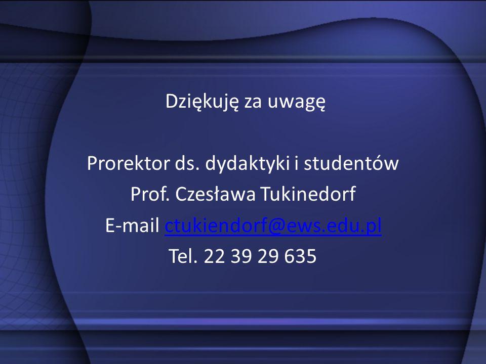 Dziękuję za uwagę Prorektor ds. dydaktyki i studentów Prof