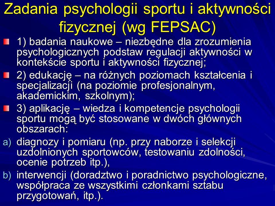 Zadania psychologii sportu i aktywności fizycznej (wg FEPSAC)