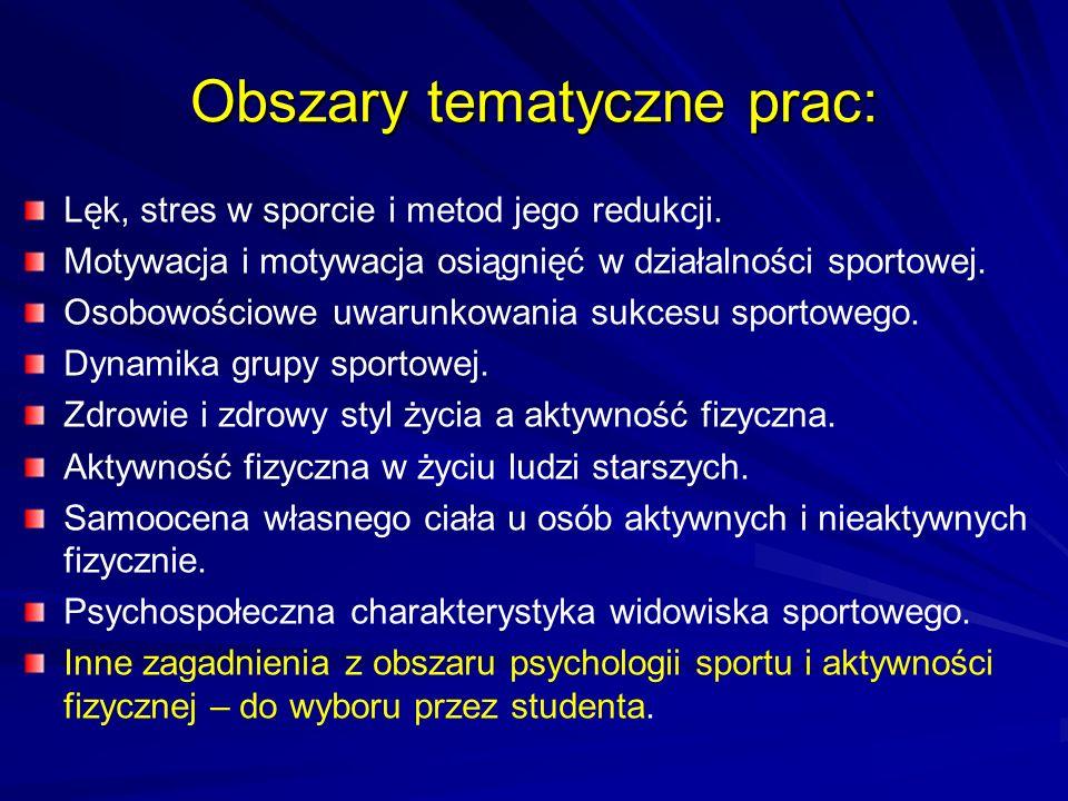 Obszary tematyczne prac: