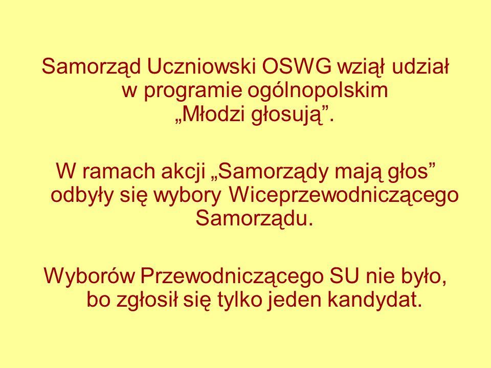 """Samorząd Uczniowski OSWG wziął udział w programie ogólnopolskim """"Młodzi głosują ."""