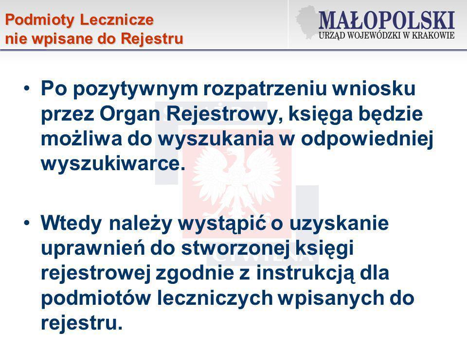 Podmioty Lecznicze nie wpisane do Rejestru.