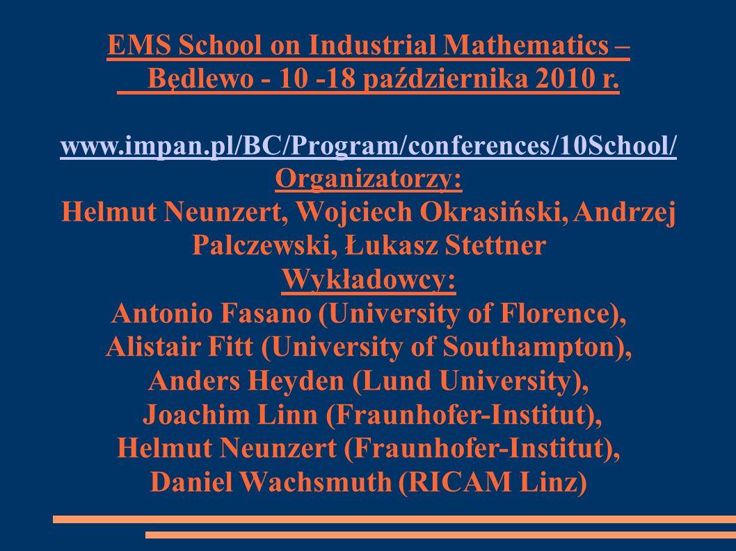 EMS School on Industrial Mathematics –