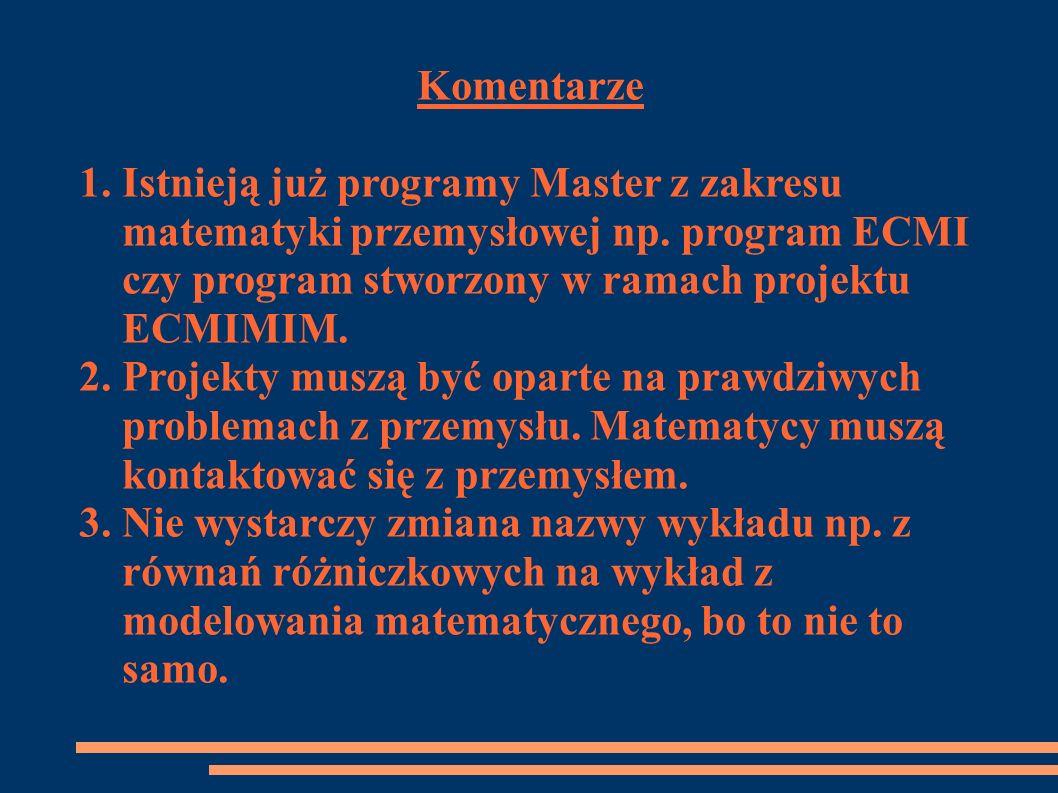 Komentarze1. Istnieją już programy Master z zakresu. matematyki przemysłowej np. program ECMI. czy program stworzony w ramach projektu.