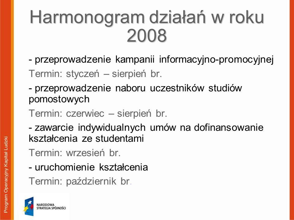 Harmonogram działań w roku 2008