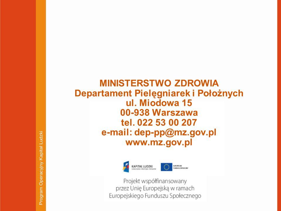 MINISTERSTWO ZDROWIA Departament Pielęgniarek i Położnych ul