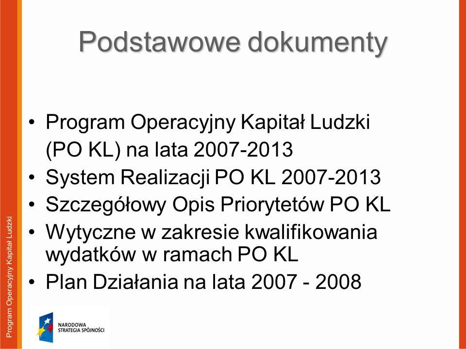 Podstawowe dokumenty Program Operacyjny Kapitał Ludzki