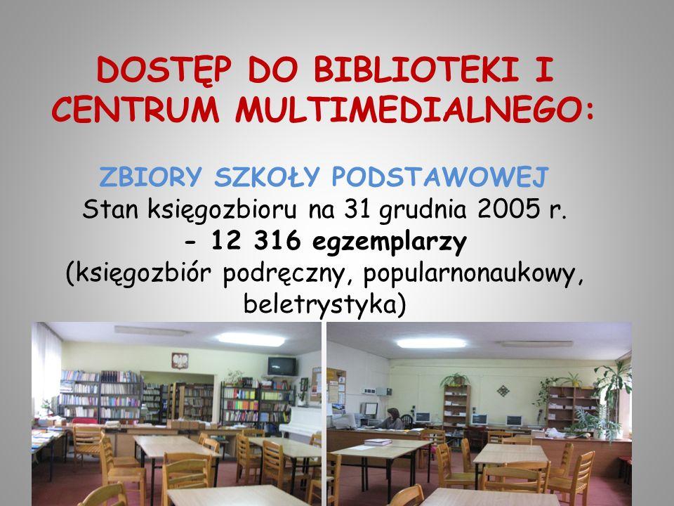 DOSTĘP DO BIBLIOTEKI I CENTRUM MULTIMEDIALNEGO: ZBIORY SZKOŁY PODSTAWOWEJ Stan księgozbioru na 31 grudnia 2005 r.