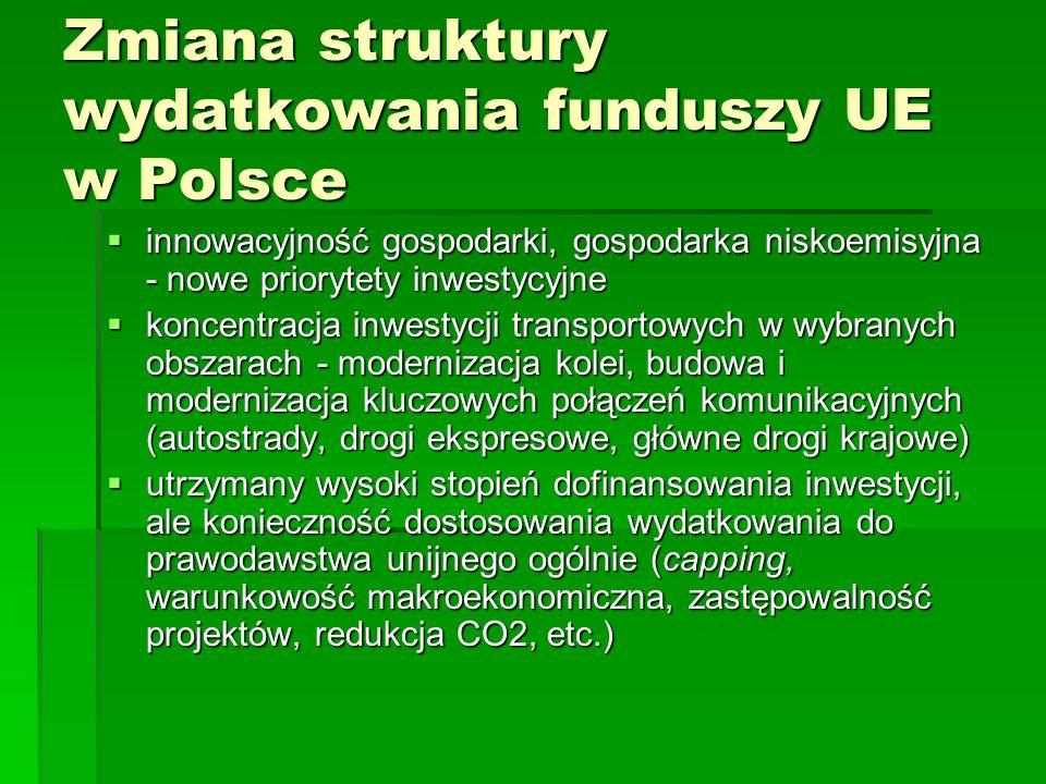 Zmiana struktury wydatkowania funduszy UE w Polsce