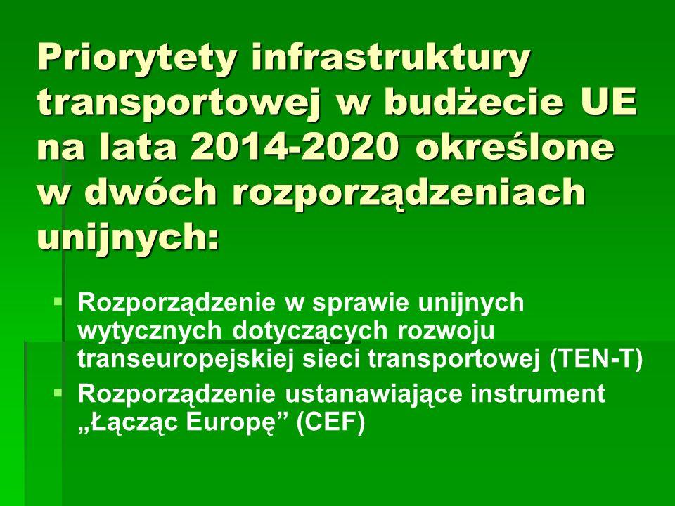 Priorytety infrastruktury transportowej w budżecie UE na lata 2014-2020 określone w dwóch rozporządzeniach unijnych: