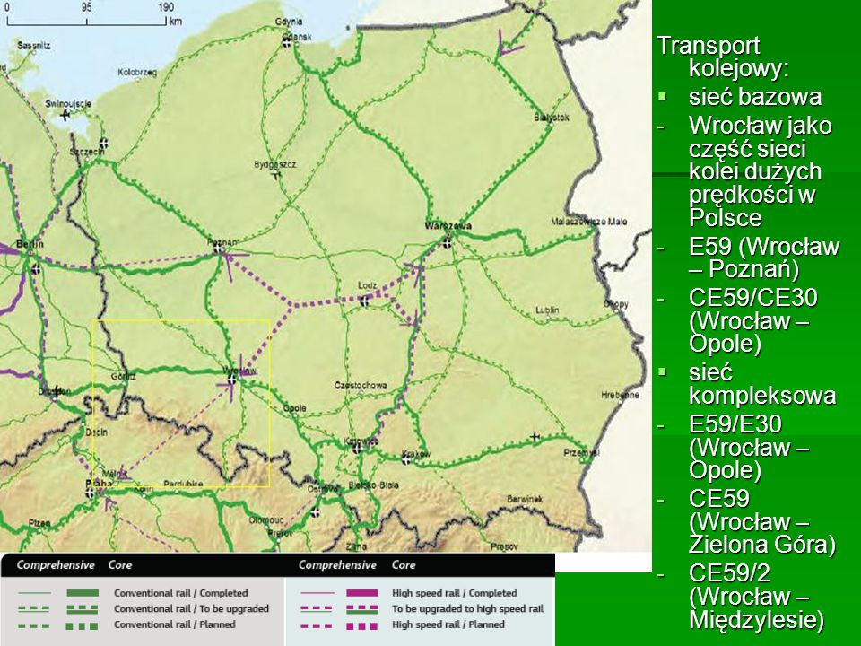 Transport kolejowy: sieć bazowa. Wrocław jako część sieci kolei dużych prędkości w Polsce. E59 (Wrocław – Poznań)