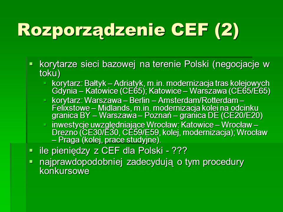 Rozporządzenie CEF (2)korytarze sieci bazowej na terenie Polski (negocjacje w toku)