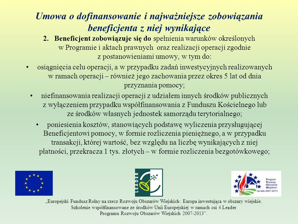 Umowa o dofinansowanie i najważniejsze zobowiązania beneficjenta z niej wynikające