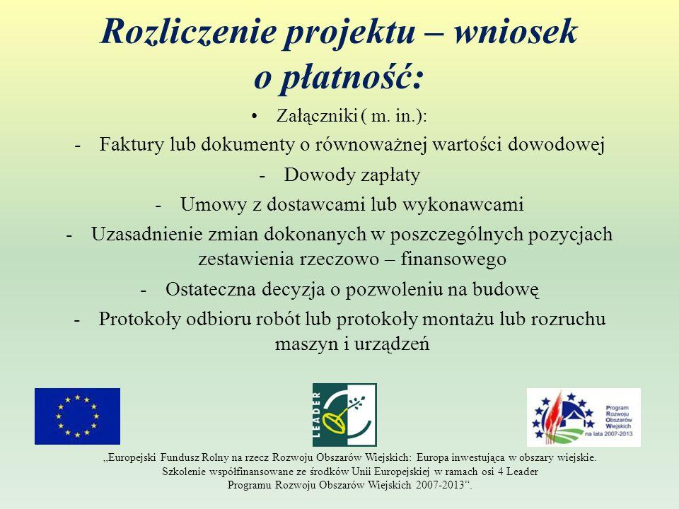Rozliczenie projektu – wniosek o płatność: