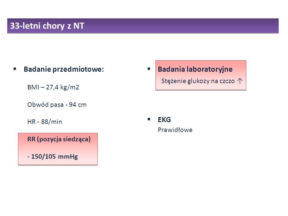 33-letni chory z NT Badanie przedmiotowe: Badania laboratoryjne